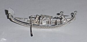 Vintage- Italian Miniature Silver Wire Work Venetian Double Figure Gondola