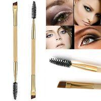 1 X Pro Cosmetic Bamboo Handle Double Eyebrow Brush + Eyebrow Comb Makeup Tool
