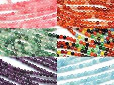 2mm Tiny Round Agate Amethyst Aquamarine Semi-precious Gemstone Spacer Beads