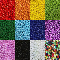 2mm Opaque glass seed beads 50g pack, size 11/0 approx 3000 beads, choose colour