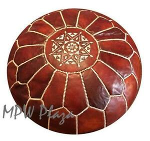 MPW Plaza Pouf, Rustic Brown, Moroccan Leather Ottoman (Un-Stuffed)