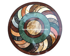 """18"""" Marble Round inlaid Fine Coffee Table Top Marquetry Gifts For Homde Decor"""