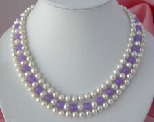 Fashion 3Rows 7-8mm Real Natural White Pearl&Alexandrite Gems Necklace 17-19''