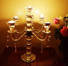 Vintage Crystal Clear 5 Arm Candelabra Candlestick Tealight Holders Mirror Base