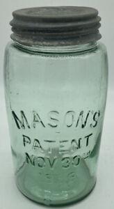 ANTIQUE BLUE MASON'S PATENT NOV 30TH 1858 QUART CANNING FRUIT JAR ZINC LID MJ21