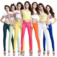 Womens Stretch Candy Pencil Pants Casual Slim Fit Skinny Jeans Trousers Hot Soft