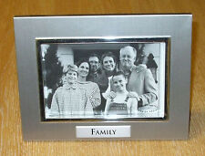 "Silver colour 'Family' Photo Frame 6"" x 4"" 'Impressions' by Juliana FA335"