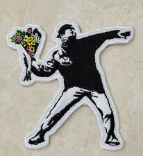 Banksy Molotov Flowers Embroidered Patch- Iron On Backing - FREE SHIPPING!