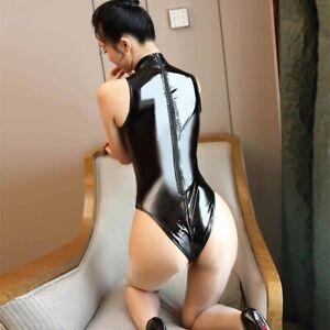 BLACK VINYL PVC BODYSUIT SHINY WETLOOK Fetish Goth Mistress Sz 6-8