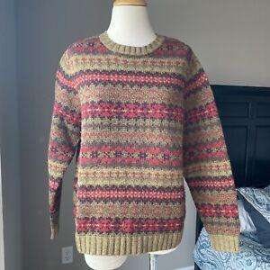 Vintage Land's End Lambswool Ski Nordic Fair Isle Pullover Sweater M
