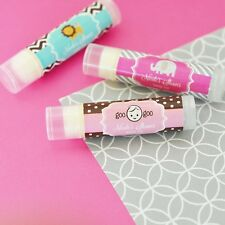 24 Personalized Baby Theme Flavored Lip Balm Tubes Baby Shower Favors