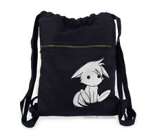 Cute Fox Backpack kawaii kitsune plush black drawstring bag canvas anime furry