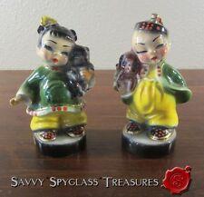 Josef Originals California Wee Ching & Lin Asian Boy Girl Dog Cat Figurines