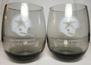 Set of 2 Vintage Dallas Cowboys 1972 World Champions Glasses Tumblers Grey
