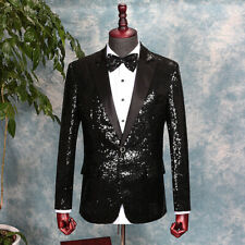 Mens Sequin Peak Lapel Suit Jacket Blazer Wedding Prom Costume Dance Show Formal