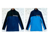 Adult Mens 2 Tone Micro Polar Fleece Top Winter Long Sleeve Jacket Half Zip Top