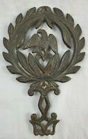 VINTAGE  Cast Iron Trivet Patriotic Eagle With Heart Early 20th Century
