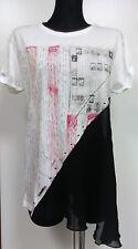 Guess Damen Shirt Top Oversize T-shirt Nieten Chiffon Gr S NEU Weiß UVP 65 €