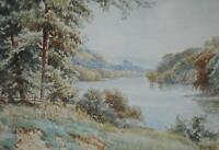 Meandering River through Forest Watercolour Edwardian School c1910/20s J Aldous