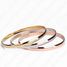 Set of 3 plain bevelled edge stainless steel bangles gold, rose gold & silver