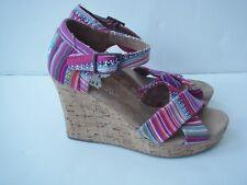 NEW TOMS 6 Wedge Cork Heel Sandals Multi