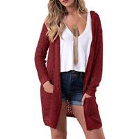 Women Top Cardigan Open Front Sweater Long Sleeve Loose Jacket Hollow Coat Tops