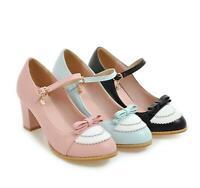 Sweet Girls Womens Strap Buckle Bowknot Block Heels Lolita Dress Shoes Bt15
