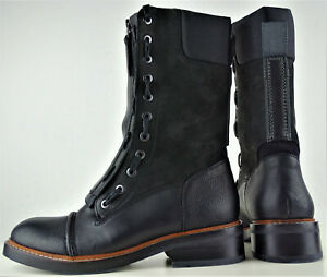 G-STAR RAW Stooke Zip Boots Stiefel Damen Leder Lederstiefel Black Gr.38 NEU