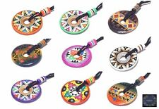 Lot 10 Ceramic Hand Painted  Necklaces Donut Style Summer Festivals -Stock UK