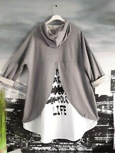 ITALY Damen Tunika Pullover Lagenlook Hoodie  42 44 46 NEU Vokuhila grau weiß