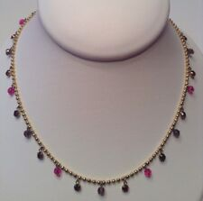 Vintage New Signed 1928 Jewelry Chain Belt Gold Ruby Red Crystals Acrylic Beads