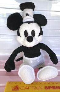 MICKEY MOUSE STEAMBOAT WILLIE BLACK & WHITE Plush Bean Bag Figure DISNEY JAPAN!!