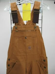 L7653 VTG Berne Men's Carpenter Bib Denim Work Overalls Size 34/32