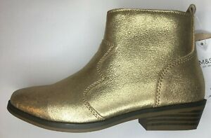 M&S Girls Gold Leather Suede Ankle Boots RRP £35 in sizes UK13, 2, 5 or 6
