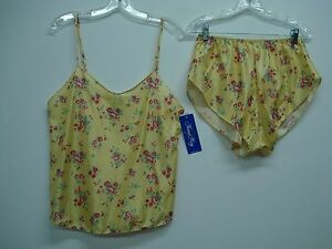 USA Made Nancy King Lingerie Camisole w/ Tap Pant Size 2X Yellow Multi #455N