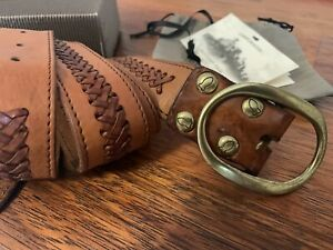 Campomaggi HANDMADE pure Leather And Solid Brass Buckle Tan Belt Size 95 ITALY