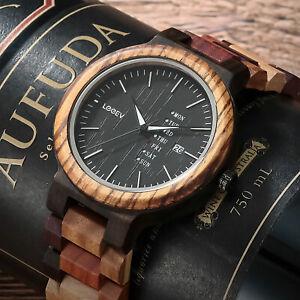 LEEEV Mens Wooden Watch Relogio Masculino Multi Color Wood Watch Xmas Gift Men