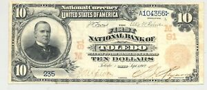 $10 Series 1902 red seal National Banknote First Nat. Bank of Toledo, Ohio #91