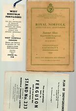 ROYAL NORFOLK SUMMER SHOW SHOWGROUND JUNE 30 & JULY 1 1954 CATALOGUE + PLAN MAP