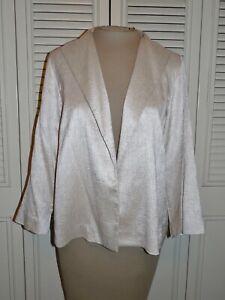 EILEEN FISHER Beige Silk Blend 3/4 Sleeve Open Blazer Jacket - S - Petite