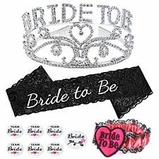 Konsait Bride To Be Tiara and Sash, Bachelorette Party Bride To Be Sash and...