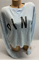NWT victoria's Secret PINK Blue Long Sleeve Cropped Graphic T Shirt Size S