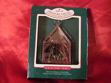 Vintage Hallmark Christmas ornament Miniature Creche Multi Plated Brass Ornament