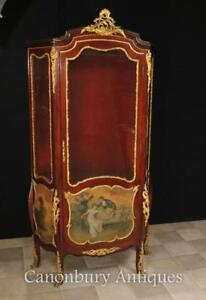 Antique Display Cabinet - French Bijouterie Vernis Martin Paintings Kauffman
