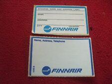 AIRLINE BAGGAGE STICKERS X 2 FINNAIR 1980'S / 90'S VINTAGE
