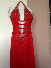 Women's Red Deep V-Neck Halter Gown With Sequins, Beading And An Open Back, Sz 0