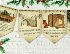 'Twas the Night Before Christmas' Vintage Style Bunting/Banner & Ribbon - 3m