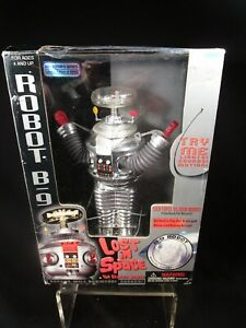 Lost In Space B-9 Chrome Robot  Silver Gun w/Box Opened for Battery Replacement