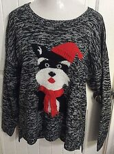 Womens Sweater Black Gray Blend New Directions Fuzzy Knit Dog Hat Scarf Plus 2X