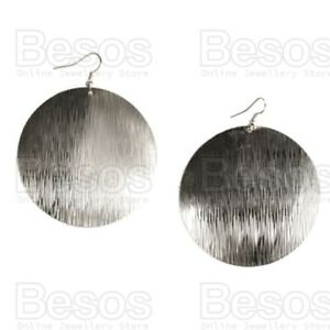 TEXTURED SILVER LARGE 55mm CIRCLE EARRINGS retro circles patterned discs UK GIFT